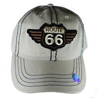 Route 66 Men's Hat - Embroidered,Adjustable Strap-back Baseball Style Cap- KHAKI