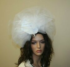 White Fascinator, Headband, Wedding and Prom Accessories, Tea Party Hat