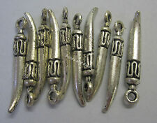 10 x Metal Silver Tone Sharks Tooth Beads For Beading & Jewellery Making JF395
