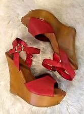 Rouge Helium Womens Red / Pink Wedge Heels Sandals STEF-10