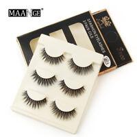 3 Pair 3D Natural Bushy Cross False Eyelashes Mink Hair Eye Lashes Makeup Tool