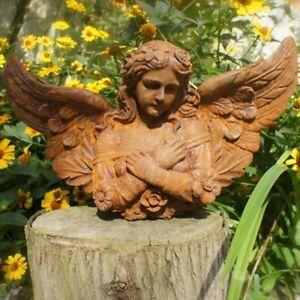 Gründerzeitliche Wandfigur, Engel Skulptur Wandengel, Eisen Skulptur Grabengel