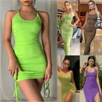 New Summer Women Bodycon Long Midi Dress Sleeveless Party Club Ruched Mini Dress