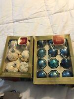 18 Vintage Shiny Brite USA Others Blue Glass Christmas Tree Ornaments Lot