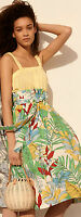 Zara SS17 Leaf Print Tropical High Waist Belt Midi Skirt Calf Length Size Small
