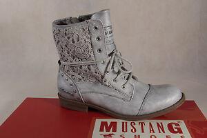 Mustang Damen Stiefel Stiefeletten Stiefelette Schnürstiefel Boots silber  NEU!