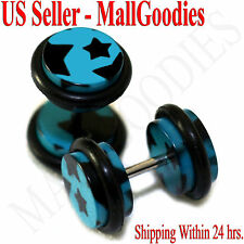 1282 Fake Cheater Illusion Faux Ear Plugs Blue & Black Stars Design 0G 8mm