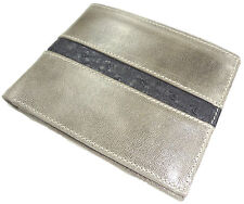 Vegetable Tanned  CALFSKIN LEATHER WALLET BIFOLD OSTRICH RFID Lining   Grey Gray