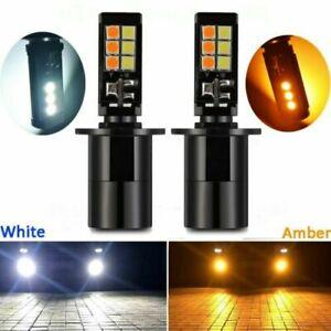 Pair 2600LM H3 160W LED Fog Light Bulbs 6000k White 3400K Yellow Dual Color