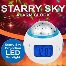 Star Sky Projection Music LED Alarm Clock Night Light Thermometer Kids Calendar