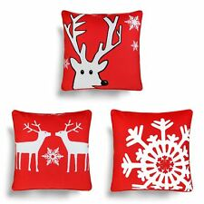 Set of 3 Christmas Cushion Covers Festive Xmas Cushion Cover Pack Collections