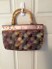 👜 Japanese Silk Brocade Wood Handles Handbag Tote Bag Purse Pink Gold Aqua