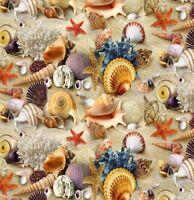 LANDSCAPE MEDLEY: SAND, SEA, & SHELLS Cotton Print by Elizabeth Studios BTY