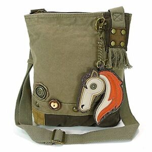 New Chala Handbag Patch Crossbody HORSE Olive Green Bag Canvas  School Work gift