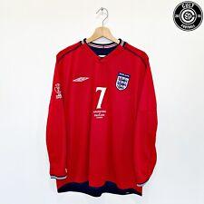 2002/04 BECKHAM #7 England Vintage Umbro LS Away Football Shirt (XL) Argentina