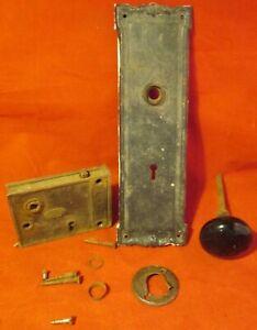 Antique Vintage Brass Door Knob Set Cover Plate & Latch Corbin Lock Key Tumbler