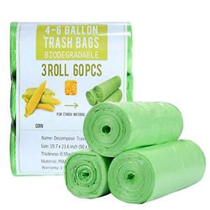 4 Gallon Small Trash Bags Biodegradable 60 Count, Compostable Trash Bags with &