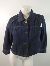 A.N.A WOMENS BLUE DARK WASH COTTON BUTTON DOWN JEAN JACKET SIZE M SUPER CUTE!