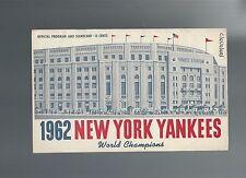 1962 New York Yankees vs. Cleveland Indians Program Scorecard