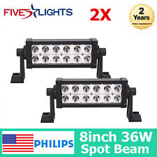 "PHILIPS 2X 36W 8"" SPOT LED Work Light Bar Driving Offroad 4WD Truck Jeep Boat FS"