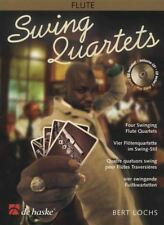 Swing Quartets for Flute Sheet Music Book Score & Parts with CD