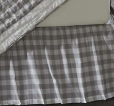 Gray and White Twin Gathered Cotton Bed Skirt Split Corners Annie Buffalo Check