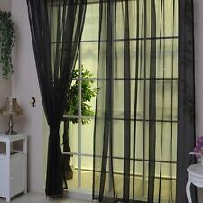 Black Voile Sheer Curtain Panel Window Balcony Tulle Room Divider Valances UP