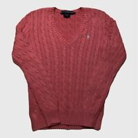 Womens Ralph Lauren Sport Cable Knit Jumper Small V Neck Pink