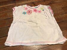 Top, chemise DPAM 12 mois, blanc et fleurs, en coton
