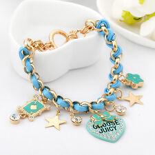 18K Gold GF Lucky Ace Flower Swarovski Crystal Heart Pendants Charms Bracelet
