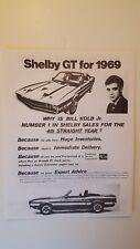2 Original 1968/1969 Shelby GT 350 GT500 Ads/Spec sheets - GOTHAM FORD,Inc. NYC