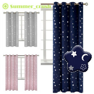 1pc Galaxy Star Thermal Blackout Curtains Eyelet Ready Made Kids Boys Girls