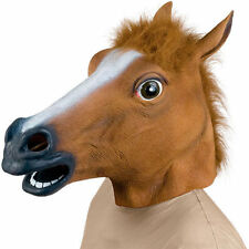 Horse Head Mask Creepy Halloween Costume Fur Mane Latex Realistic Super terror