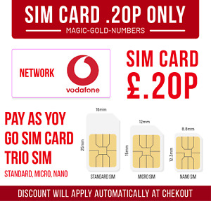 Vodafone Sim Card - New and Sealed Only 20p Pay As You Go PAYG Voda SIM 👍