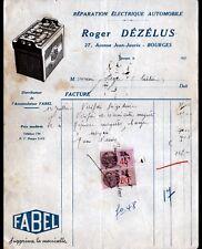 """BOURGES (18) GARAGE / ELECTRICITE AUTOMOBILE """"Roger DEZELUS"""" Pub. BATTERIE FABEL"""