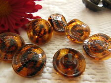 lot 6 boutons anciens en verre marron fçon ecaille à pied 1,7 cm ref 736
