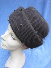 Vintage 50s 60s Turban Hat Felt Pillbox Brown Veil M Mendez