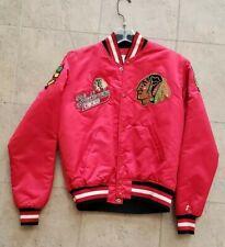 Vintage Starter Chicago Black Hawks Mens Medium Satin Jacket custom patches