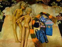 lot=  2poupées mannequin articulées et garde robe de 6sacs bleu et écharpe laine