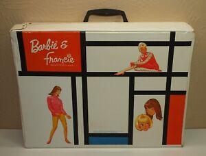 Vintage 1960s BARBIE & FRANCIE Mondrian Style Vinyl DOUBLE CASE * Mod Era