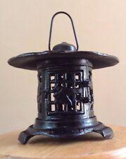 VTG Japanese Pagoda Style Garden Lantern with Hanger Iron Oriental Candle Black