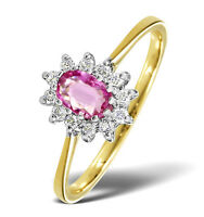 9K Gold 0.18ctw Diamond & Pink Sapphire Cluster Ring  Sizes F - Z Made in London