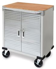 "Seville 2-Door Rolling Storage Cabinet Tool Box Cart Workbench 5"" Casters Shelf"
