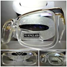 Mens Women CLASSIC VINTAGE Style Clear Lens EYE GLASSES Transparent & Gold Frame