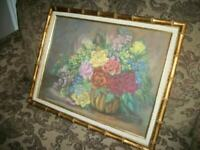 ROSES OIL PASTEL PAINTING LUSH FLORALS VASE FAUX GILT BAMBOO FRAME MID CENTURY