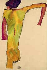 Male Nude, Propping Himself Up By Egon Schiele Fine Art Giclee Repro on Canvas