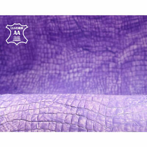 Purple Crocodile Print // Leather with Painted Effect // 5 - 6 sqft // Embossed