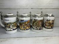 Strohs Lidded Beer Stein Bavaria Collection I II III IV Beer Mug Set