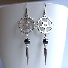 Cog Gear Earrings Antique Silver Goth Steampunk Dangle Charm Earrings
