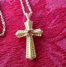 Genuine Garnet January Birthstone Cross Christian Pendant Necklace